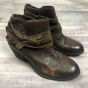 H By Hudson Brown Leather Ankle Booties